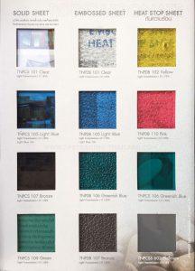 ตัวอย่างสีโพลีคาร์บอเนต-แผ่นตัน