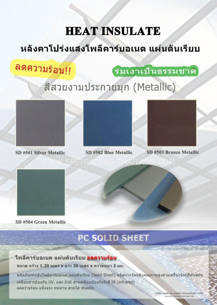 โพลีคาร์บอเนต แผ่นตันเรียบ กันร้อน solid sheet
